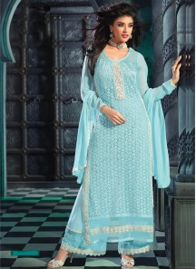 Lordly Georgette Embroidered Work Designer Palazzo Salwar Kameez