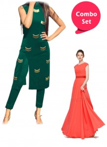 Lovely Gorgette Gown & Handwork Front Open Designer Wear Dress With Matching Leggings- Pack of 2