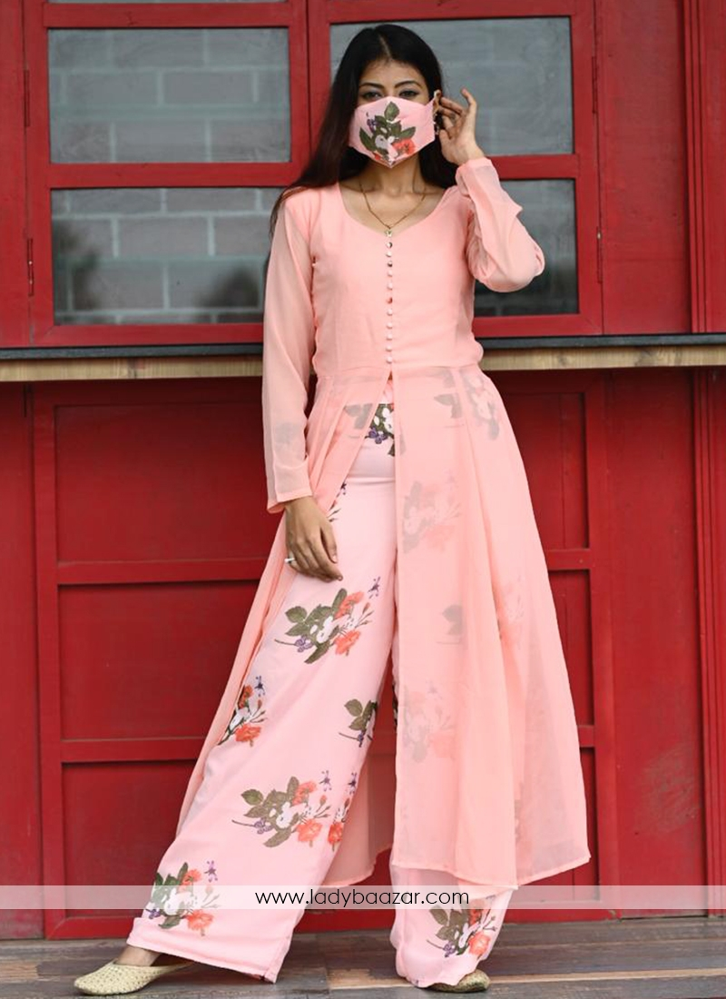 Lovely Light Peach Colored Partywear Printed Georgette Top-BottomPlazzo Set