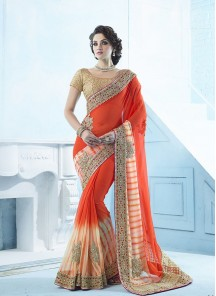 Lustre Orange thread Work Georgette Designer Saree