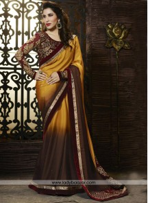 Luxurious Brown Designer Saree