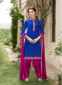 Magnetic Blue Cotton Embroidery Work Patiyala Salwar Suit