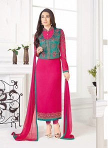 Magnetize Embroidery Work Georgette Magenta Salwar Suit