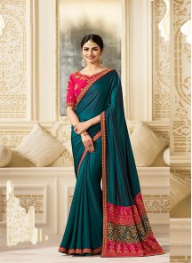 Magnificent  Silk Green Embroidery Work Classic Saree