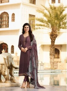 Majestic Brown Embroidery Work Crepe Churidar Dress