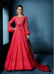 Majesty Morvi Silk Hot Pink Floor Length Anarkali Suit