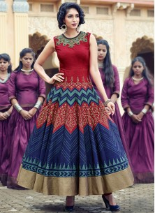 Maroon And Navy Blue Lovely Banglori Silk Pure Han
