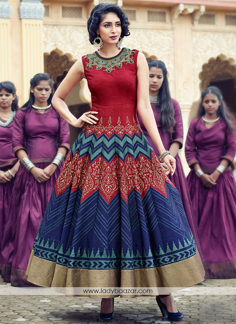 Maroon And Navy Blue Lovely Banglori Silk Pure Hand Work Stitched Anarkali Suit