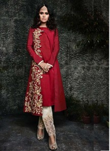 Maroon Embroidered Festival Designer Palazzo Suit