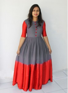 Marvelous Grey Faux  Georgette Floor Length Long Readymade Gown