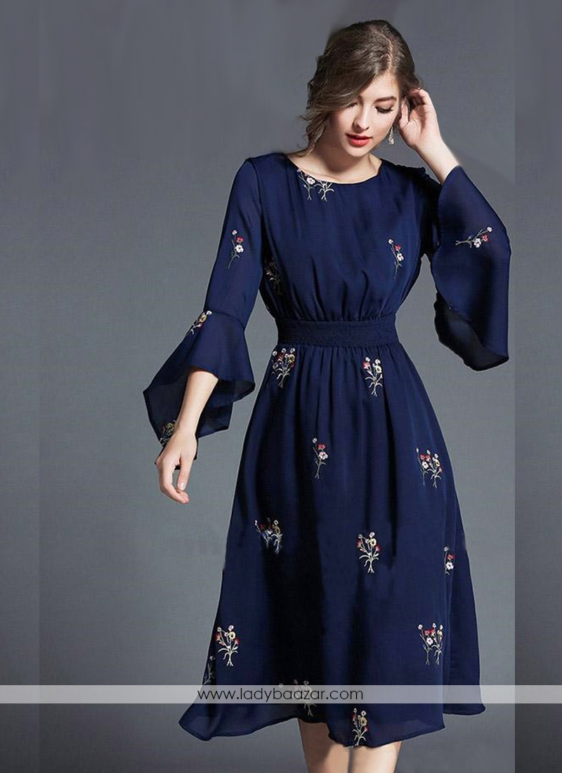 Marvelous Navy Blue Georgette Embroidery Ethnic Tunic