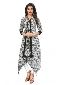 Marvelous Printed White With Grey Cotton Party Wear Kurti