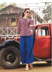 Marvelous Red With Blue Printed Reyon Western Wear