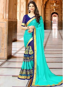 Marvelous Turquoies Lace Work Designer Embroidery Saree