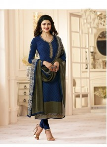 Masterly Navy Blue Crepe Embroidery With Printed Salwar Suit