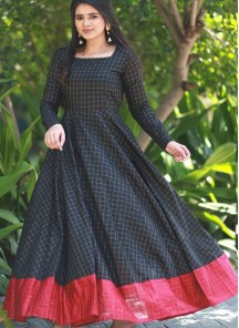 Mesmeric Black Colored Designer Partywear Silk Jacquard Gown