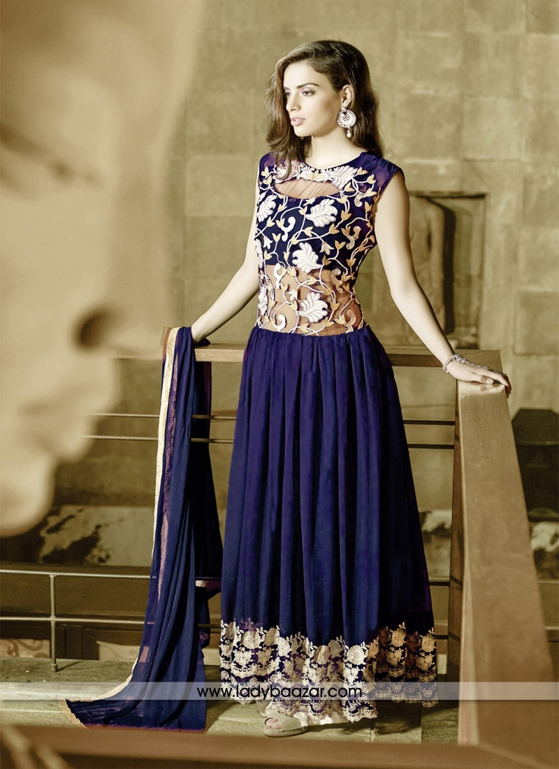 Mesmeric Embrodired Work Net And Georgette Designer Gown