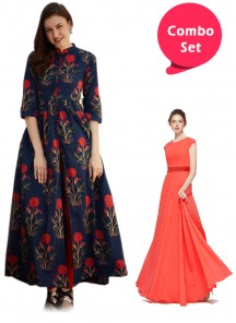 Mesmeric Gorgette Gown & Front Cut-Out Designer Wear Kurta With Leggings - Pack of 2