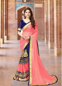 Mesmerizing  Georgette Embroidery Work Half N Half  Saree