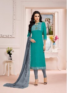Mesmerizing Grey With Green Cotton Embroidery With Printed Salwar Suit