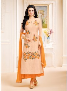Mesmerizing  Peach Silk With Lawn Embroidery Work Straight Suit