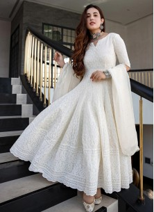Milky White Designer Anarkali Gown In Rayon With Lucknowi Chikankari Embroidery Work