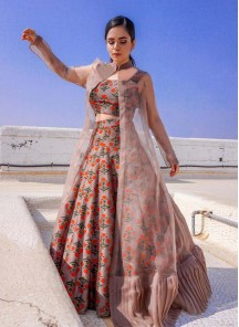 Miraculous Cotton And Net Peach Party Ware Lehenga Choli