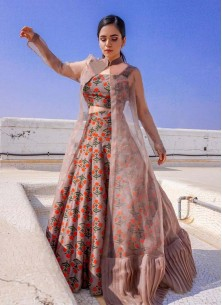 Miraculous Cotton And Net Peach Party Ware Lehenga