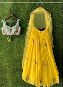 Miraculous Embroidered Georgette Yellow Party Wear