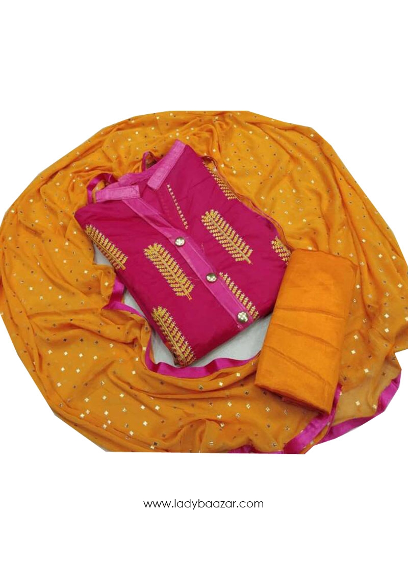 Modal Embroidery work Dress Materials In Pink And Yellow