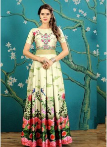 Modern Print Work Readymade Gown