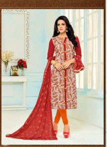 Modest Chanderi Red Printed Salwar Kameez