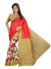Modest Cream With Red Bhgalpuri Silk Printed Saree