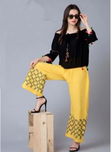 Modest Yellow Reyon Embroidery Work Palazzo For Girls