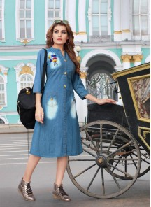 Modish Blue Denim With Hand Work Western Kurti