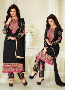 Modish Embroidered Work Black Churidar Designer Suit