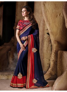 Modish Patch Border Work Georgette Designer Saree