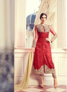 Modish Red Net Embroidery Work Designer Salwar Suit