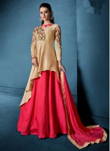 Morvi Silk Embroidered Cream Floor Length Anarkali