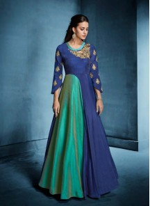 Morvi Silk Embroidered Floor Length Anarkali Suit In Blue And Green