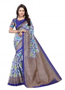 Multi Bhagalpuri Silk Printed Casual Saree