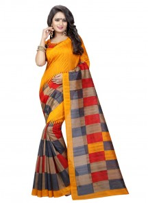Multi Color Bhagalpuri Silk Printed Casual Saree