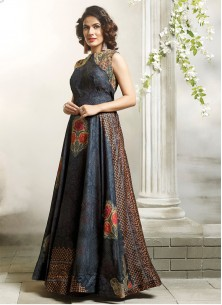 Multi Colour Fancy Fabric Readymade Stiched Gown