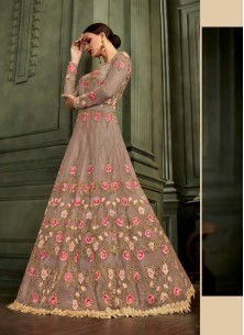 Multi Colour Mullburry Silk Floor Length Anarkali