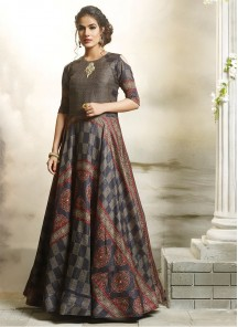 Multi Colour Stiched Digital Print Work Designer Gown