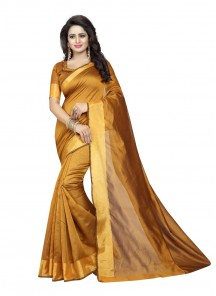 Mustard Color Cotton Silk Printed Casual Saree