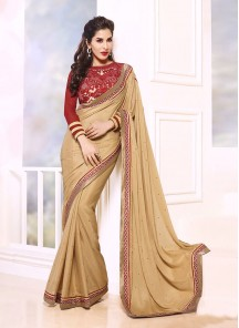 Mystical Georgette Patch Border Work Designer Saree