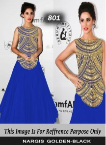 Nargis Blue georgette mirror work designer Gown