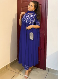 Navy Blue Colored Partywear Embroidered Georgette Top-Bottom Set