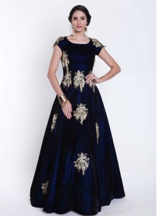 Navy Blue velvet in Hand work and embroidered butti  Gown